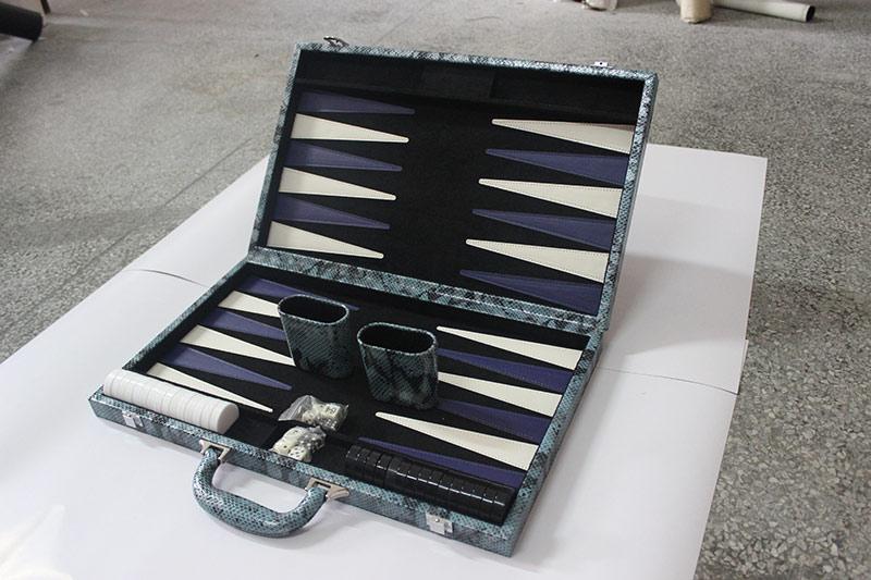 "11"" Classic PP Backgammon Set Crocodile Texture Faux Leather Portable Travel Folding Case"