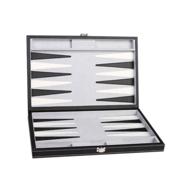 Cheap Price Black Leather Cherry Wooden Backgammon Set Exporting to Arabic