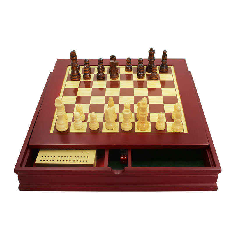Travel Engraved Wooden Backgammon Set with Mini Checkers made in China