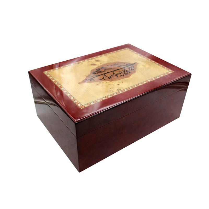 Humidor Ebony Wood Veneer, Humidor for 50-60Cigars, Humidor Humidity Control