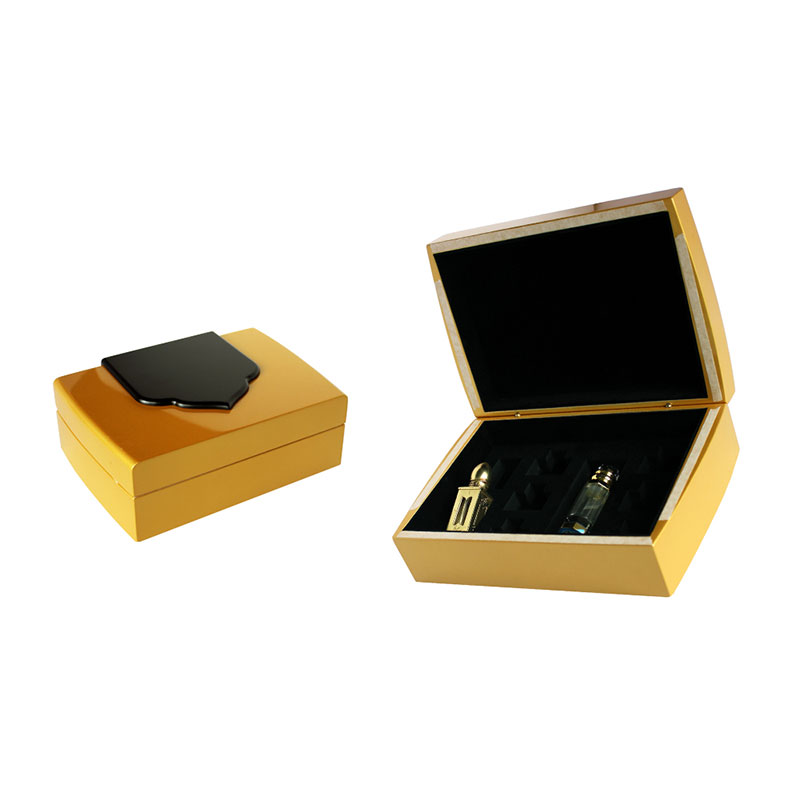 High Quality Glossy Golden 3ml Wood Hinged Perfume Box Supplier in China