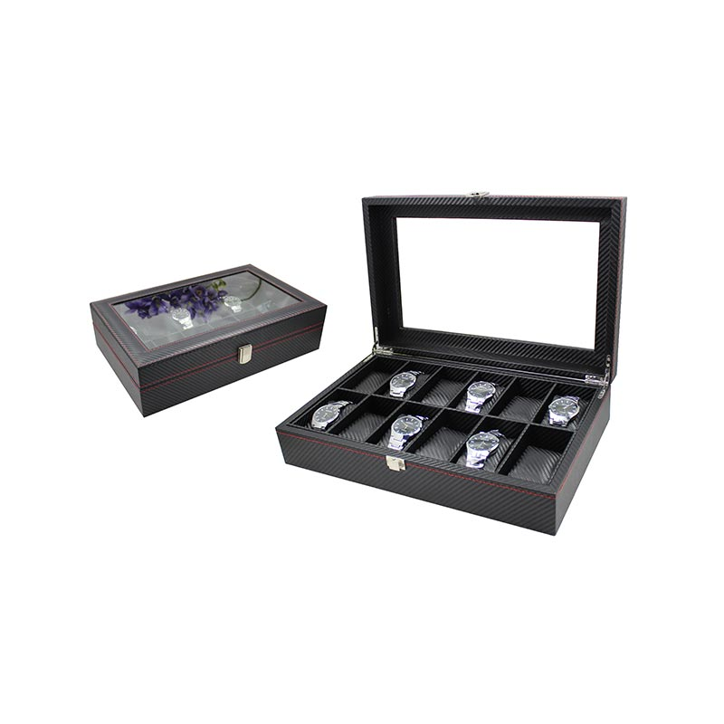 Black Leather Watch Box Wholesale Price For 12 Watches Display