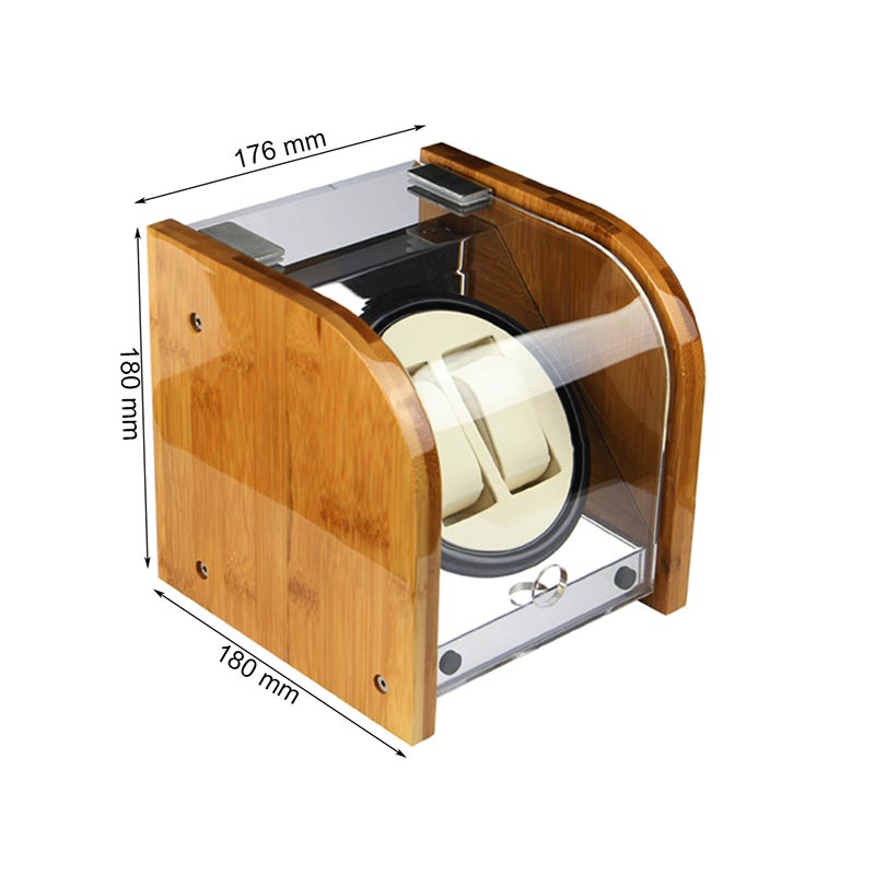 Bamboo Wood Piano Lacquer Wood Watch Winder Box for Automatic Watches Double
