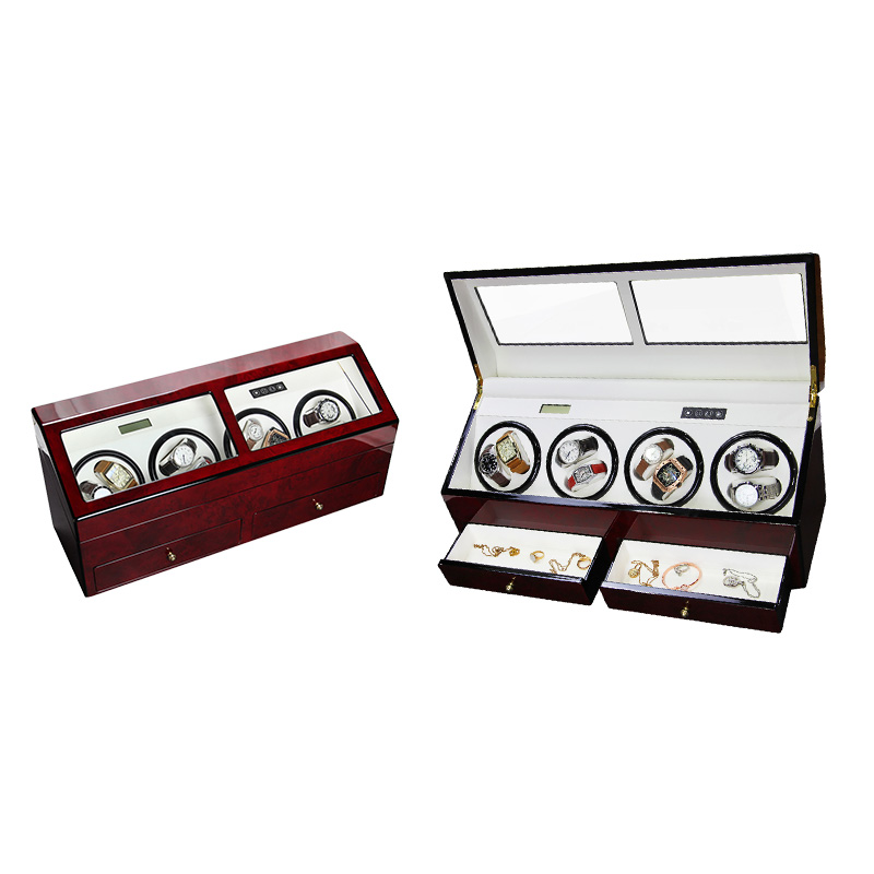 8 Slots Automatic Motor Wooden Watch Winder