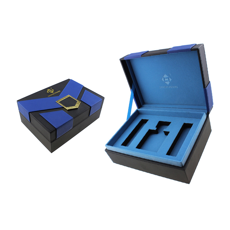 Luxury Classy Cardboard Surprise Custom Logo Blue Three Bottles Leather Perfume Gift Box Package  Factory