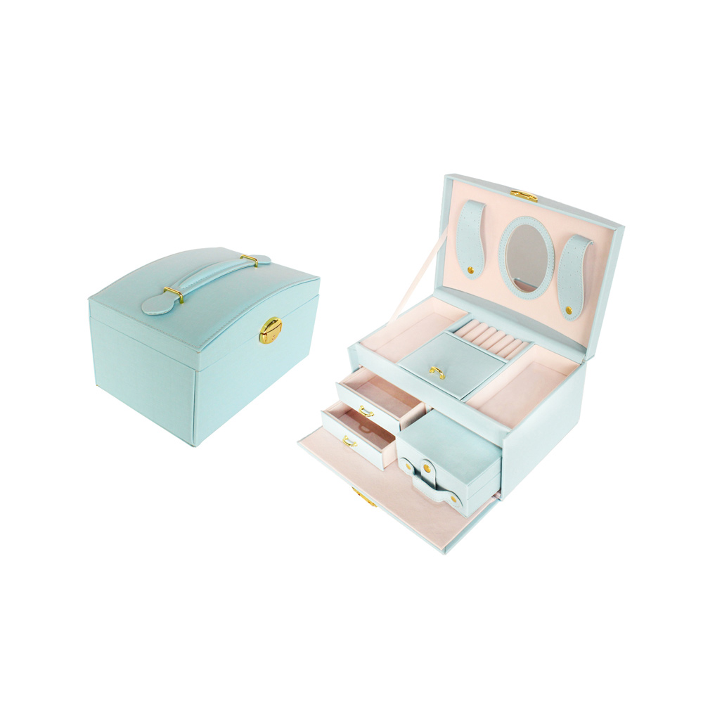 Blue Pu Jewelry Packaging Box With Key Handmade Jewelry Display Organizer Box With HD Mirror