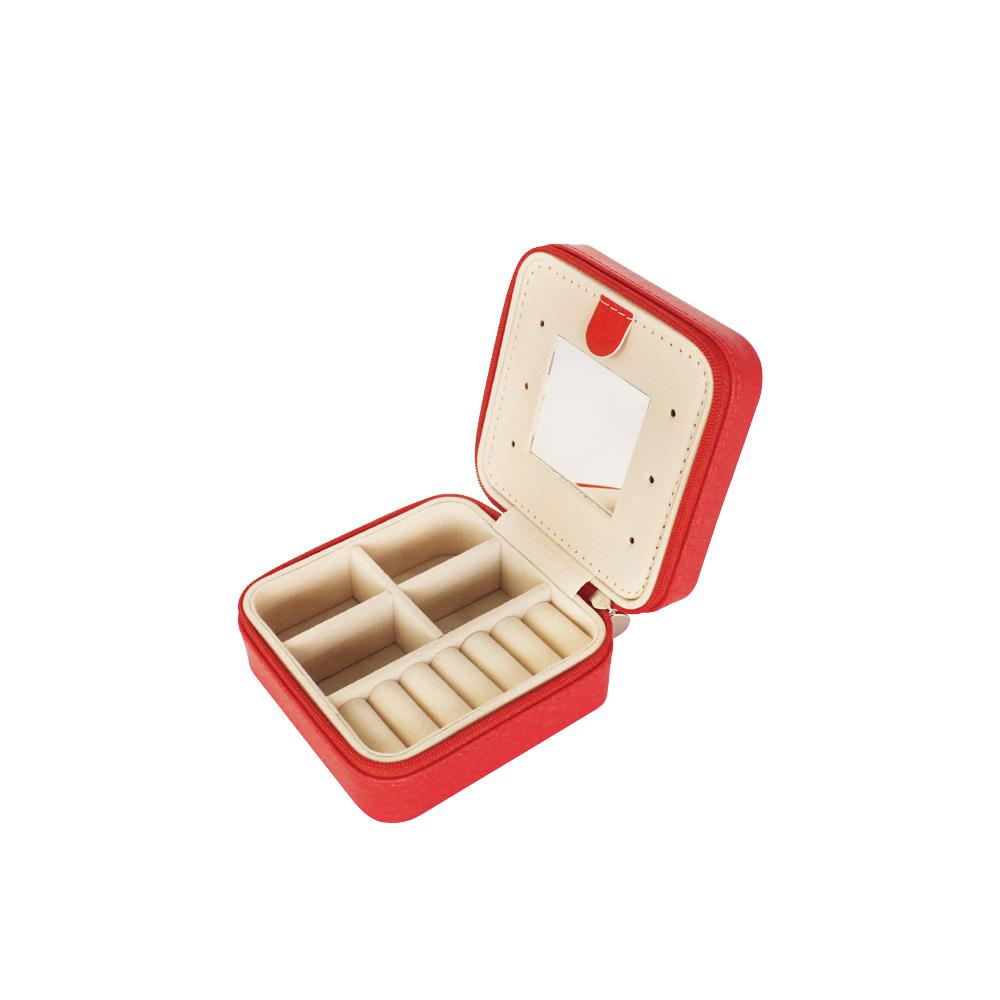 Pink Tabby Pattern PU Jewelry Necklace Box Custom Jewelry Packaging Organizer With Zipper