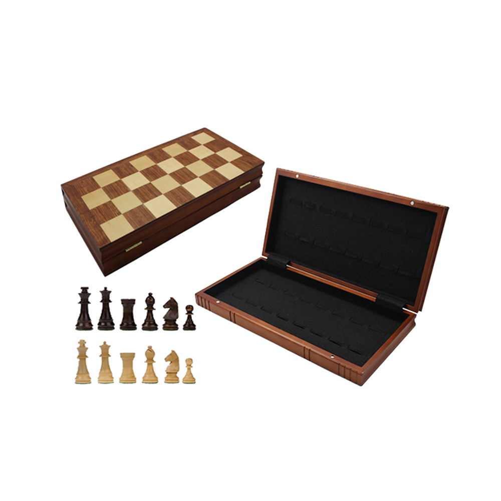 Folding Inlaid Wooden Chess And Checker Set With Wooden Pieces