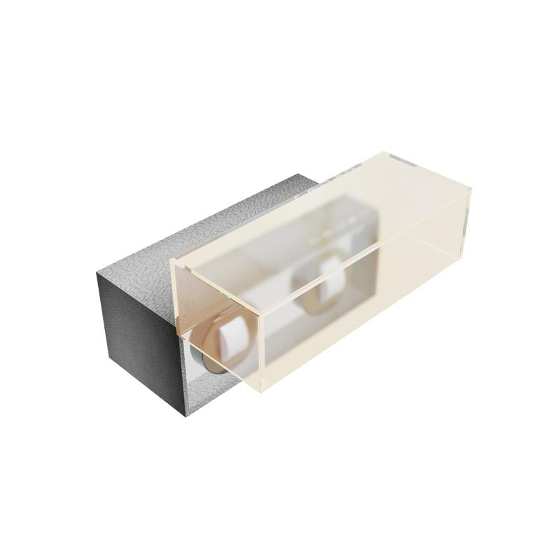 Automatic Rotation Watch Winder Box Mabuchi Motor Gray PU Cover Wood 2 Watch Shaker